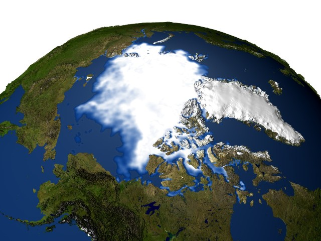 Picture of north pole sea ice taken in 2003.